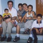 Alliance President with nine year old Elian Gonzalez, his little brother, and his cousins at his home. Cardenas, Cuba. 2002.