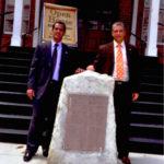 "Cuban Diplomats visiting famous ""Jose Marti"" Marker in Ybor City. 2014."